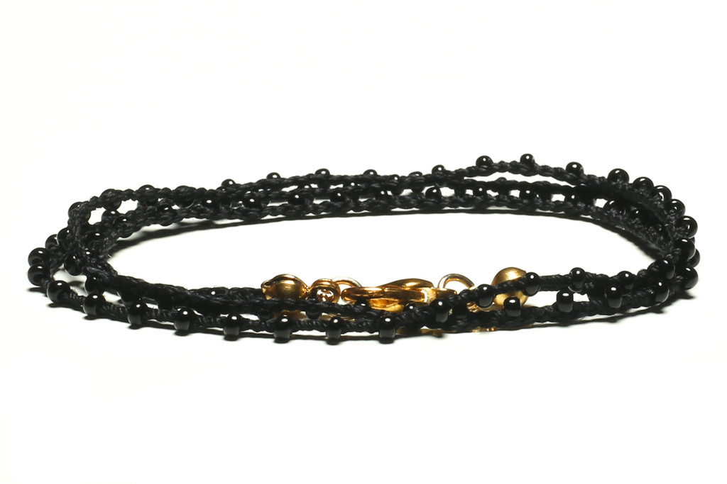 """16"""" braided black silk thread necklace with black seed beads and gold plated clasp"""