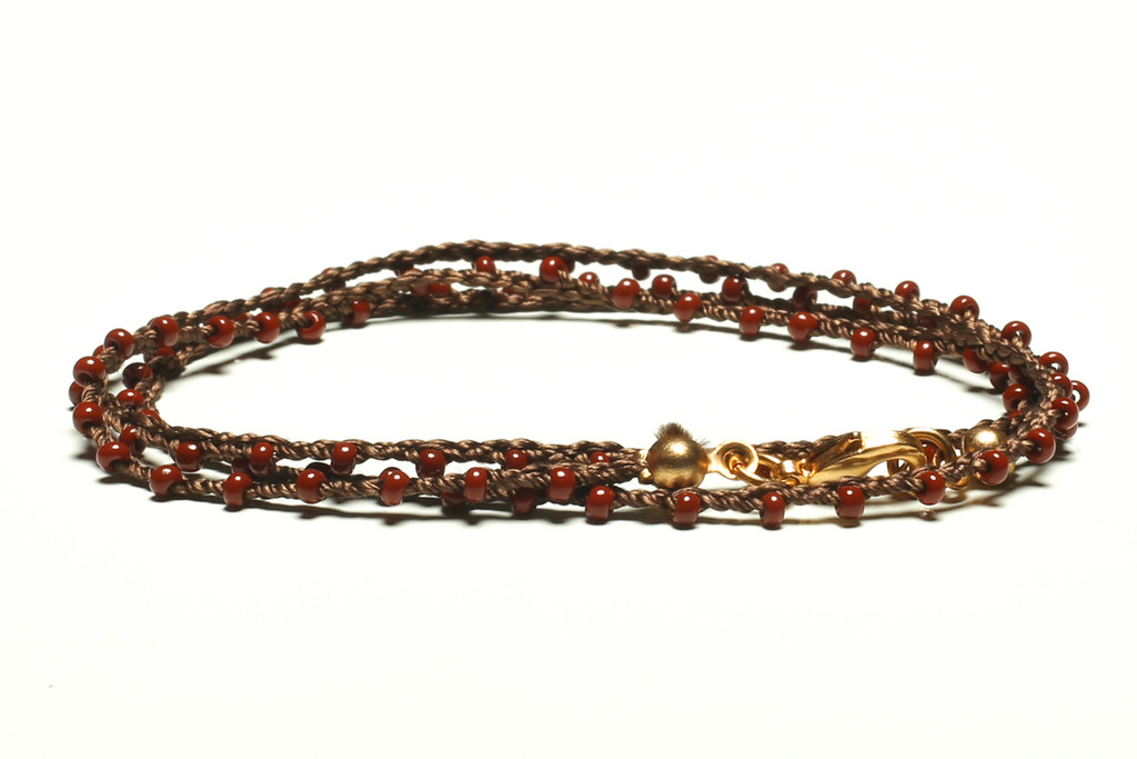 "16"" braided chestnut brown silk thread necklace with rust seed beads and gold plated clasp"