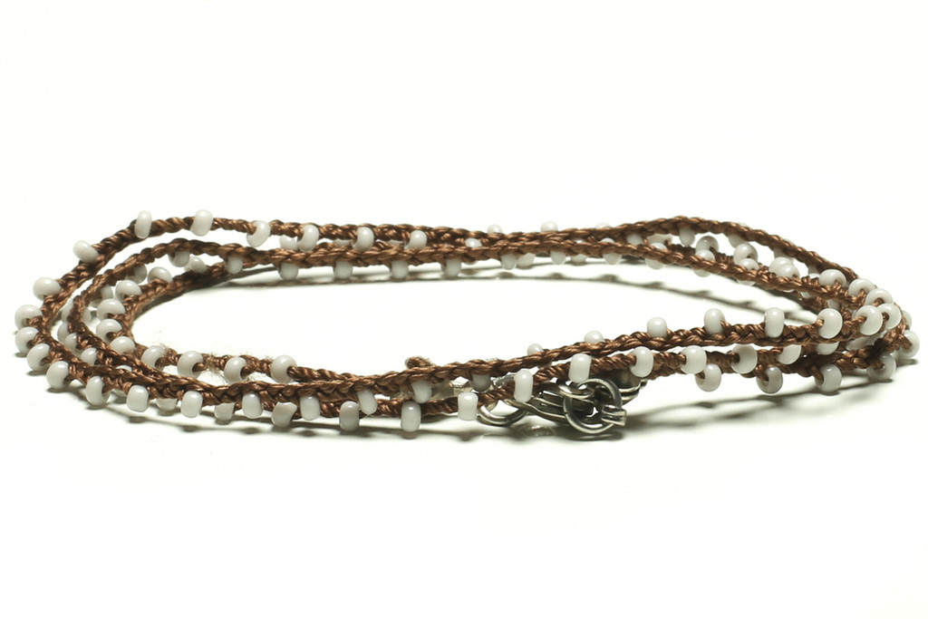 "16"" braided brown silk thread necklace with white seed beads and silver plated clasp"