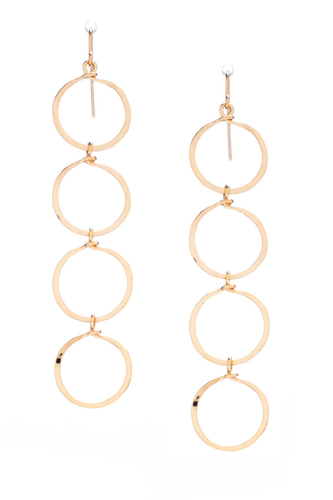 Hammered Geometric Minimalist gold Round Links hoop Drop Earrings, Handmade / GAE G B46-2