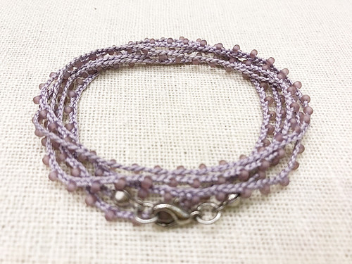 Dainty Boho Crochet Czech Seed Bead Silk Thread Necklace / Wrap Bracelet in Violet / GAN S B102-11