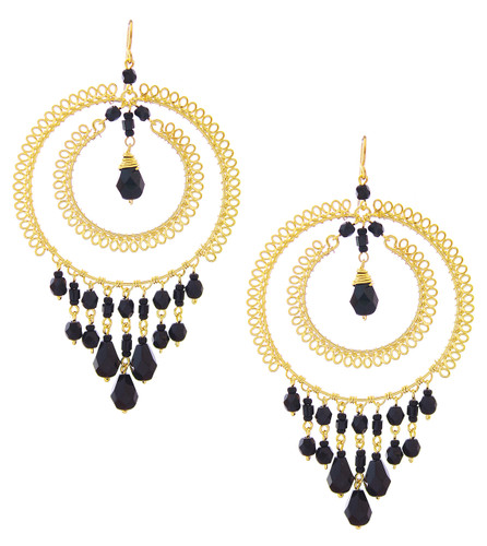 Handmade Beaded Double Hoop Gold Chandelier Boho Earrings / CLE G B90-14