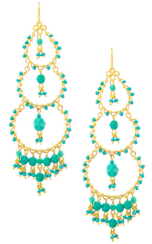 Handmade Bohemian Beaded Gold plated Chandelier Earrings / CAE G B13-1