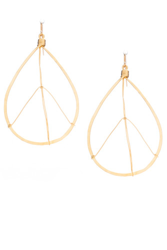 Hammered  Boho, Bohemian, Geometric Minimalist Gold Tear Drop Peace Sign Earrings, Handmade / GAE G B10-4