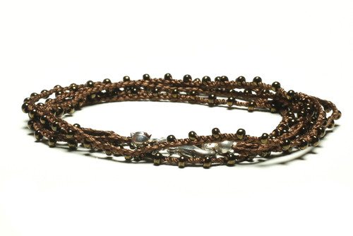 "32"" braided chestnut brown silk thread necklace with dark bronze seed beads and silver plated clasp"