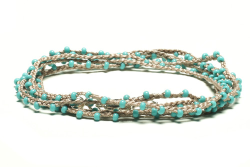 "32"" braided steel grey silk thread necklace with turquoise seed beads and silver plated clasp"