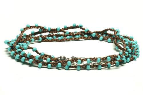 "32"" braided chestnut brown silk thread necklace with turquoise seed beads and silver plated clasp"