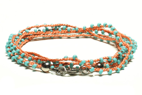 "32"" braided dusky pink silk thread necklace with turquoise seed beads and silver plated clasp"