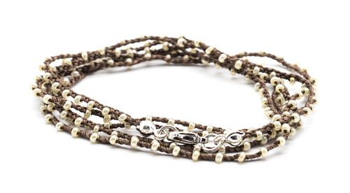 "32"" braided brown silk thread necklace with milky white seed beads and silver plated clasp"