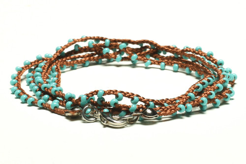 "32"" braided cognac brown silk thread necklace with turquoise seed beads and silver plated clasp"