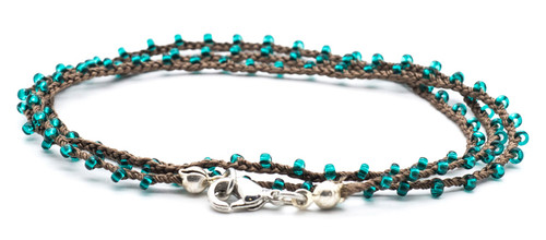 "18"" braided chestnut brown silk thread necklace with transparent teal seed beads and silver plated clasp"