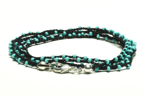 """32"""" braided black silk thread necklace with turquoise seed beads and silver plated clasp"""