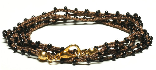 "32"" braided chestnut brown silk thread necklace with black seed beads and gold plated clasp"