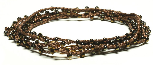 "32"" braided chestnut brown silk thread necklace with dark bronze seed beads and gold plated clasp"