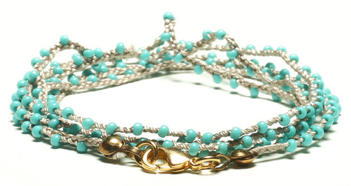 "32"" braided grey silk thread necklace with turquoise seed beads and gold plated clasp"