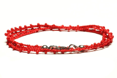 "16"" braided red silk thread necklace with red seed beads and silver plated clasp"