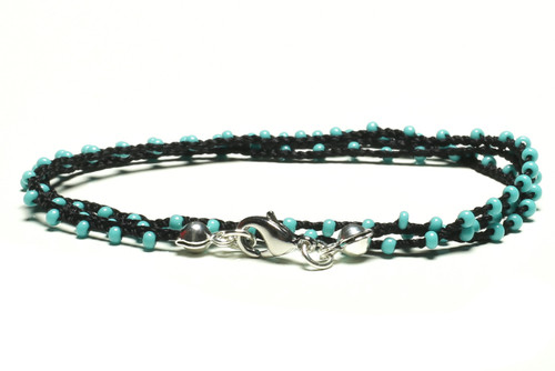 """16"""" braided black silk thread necklace with turquoise seed beads and silver plated clasp"""