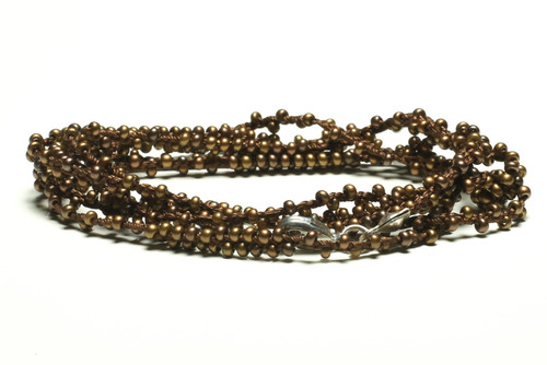 "32"" braided chestnut brown silk thread necklace with double beaded bronze seed beads and silver plated clasp"