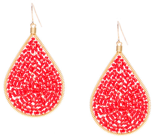Ipamema Earrings - Tear drop earrings with coral fire polish crystals and coral seed beads in gold plate finish. Surgical steel earwire.
