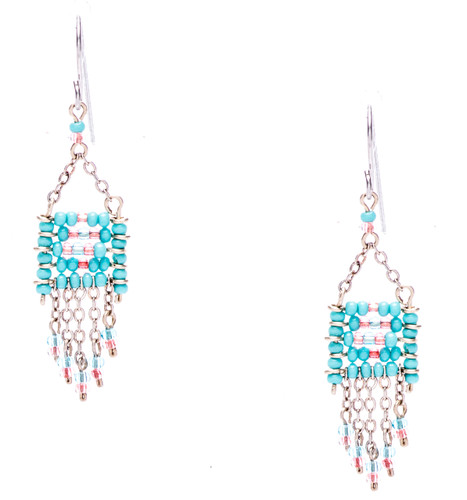 Boho chic, a seductively mix and match of spellbinding sky blue, red, turquoise seed beads on silver plate finish wire and chain. From intricate to light beaded pieces, The Southwest has a myriad of colors to compliment you and beads are all Czech. Surgical steel earwire.