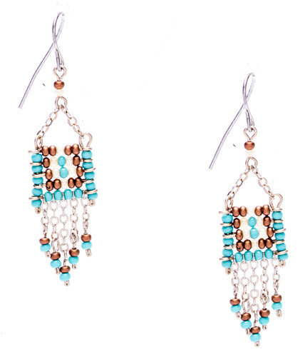Boho chic, a seductively mix and match of spellbinding turquoise, bronze, pearl seed beads on silver plate finish wire and chain. Surgical steel earwire.