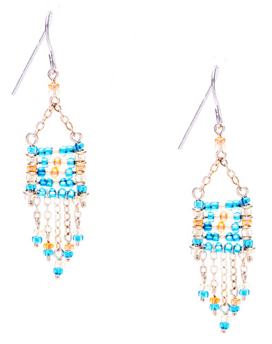 Boho chic, a seductively mix and match of spellbinding sky blue, gold, clear crystal seed beads on silver plate finish wire and chain. Surgical steel earwire.