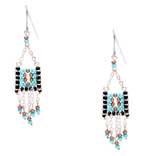Boho chic, a seductively mix and match of spellbinding onyx, turquoise, bronze, pearl seed beads on silver plate finish wire and chain. Surgical steel earwire.