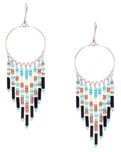Boho chic, a tantalizing mix and match of mesmerizing turquoise, pearl, bronze, onyx bugle and seed beads on silver plate finish hoop and wire. Surgical steel earwire.
