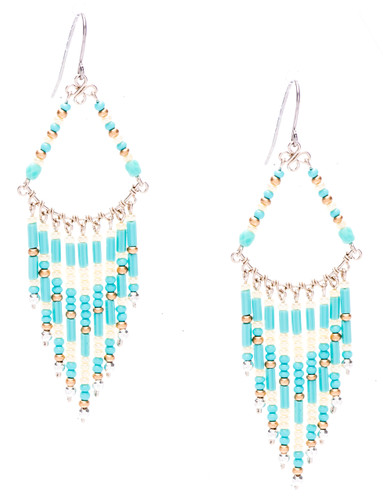Boho chic, a tantalizing mix and match of mesmerizing turquoise, pearl, bronze, silver bugle and seed beads on silver plate finish wire and chain. Surgical steel earwire.