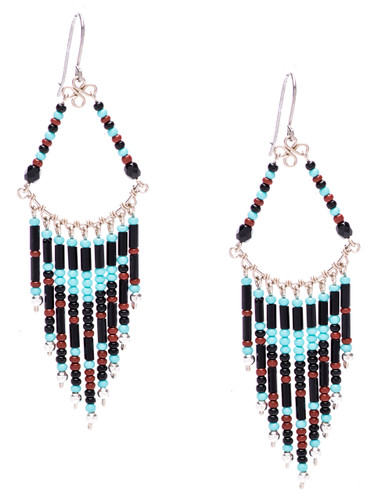 Boho chic, a tantalizing mix and match of mesmerizing turquoise, onyx, mocha , silver bugle and seed beads on silver plate finish wire and chain. Surgical steel earwire.