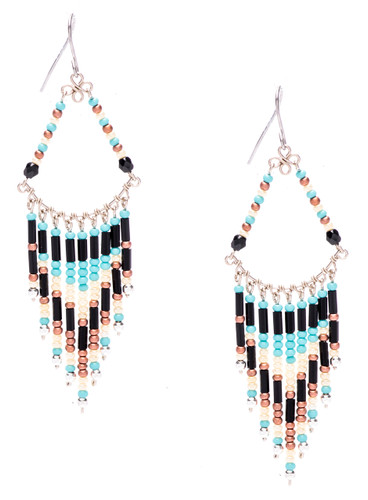 Boho chic, a tantalizing mix and match of mesmerizing turquoise, onyx, bronze, pearl, silver bugle and seed beads on silver plate finish wire and chain. Surgical steel earwire.