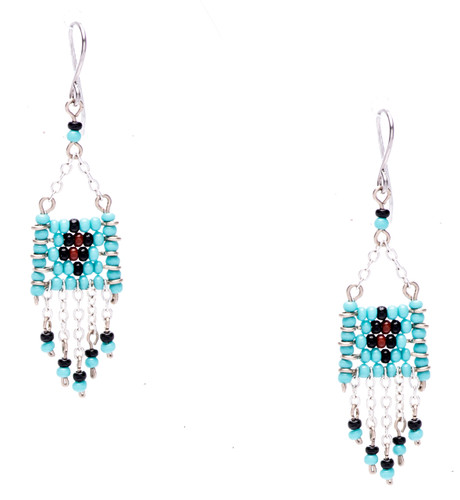 Boho chic, a seductively mix and match of spellbinding turquoise, onyx, mocha seed beads on silver plate finish wire and chain. Surgical steel earwire.