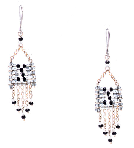 Boho chic, a seductively mix and match of spellbinding grey silver, clear, onyx seed beads on silver plate finish wire and chain. Surgical steel earwire.