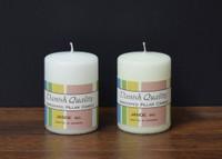 """2.75"""" x 6"""" White and Ivory Danish Pillar Candles."""