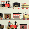 Trains - Cream/Black/Red and Metallic Gold