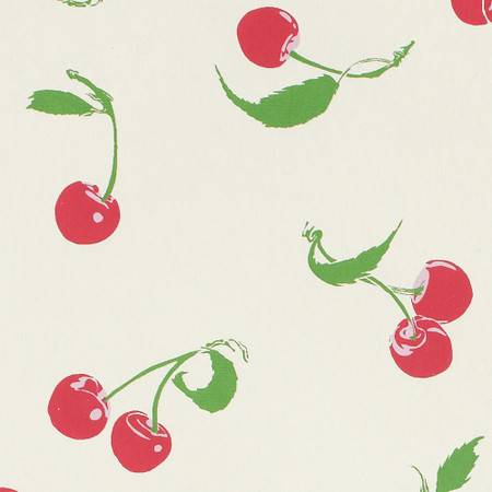 Gift Wrap - Cherries - Pink on Cream