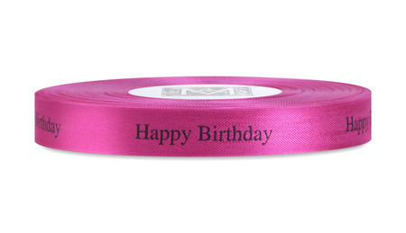 "Black ""Happy Birthday"" on Lipstick Ribbon - Rayon Trimming Sayings"