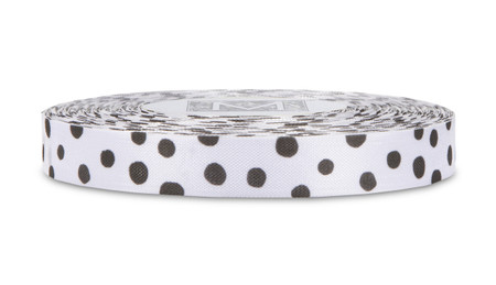 Black Polka Dots on White Rayon Trimming Ribbon