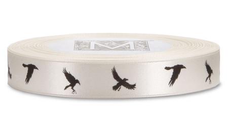 Black ink Crows on Bone Ribbon - Double Faced Satin Symbols