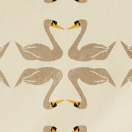 Gift Wrap - Swans - Cream