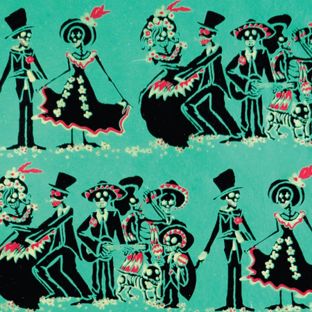 Gift Wrap - Day of the Dead - Turquoise/Black