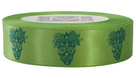 Day of the Dead - Aqua ink on Kaffir Ribbon - Double Faced Satin Symbols
