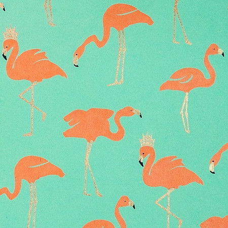 Gift Wrap - Flamingo - Metallic Gold/Orange/Mint Green