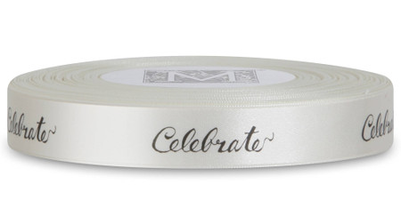 "Black ink ""Celebrate"" on Bone Ribbon - Double Faced Satin Sayings"
