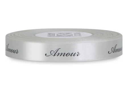 """Black ink """"Amour"""" on Bone Ribbon - Double Faced Satin Sayings"""