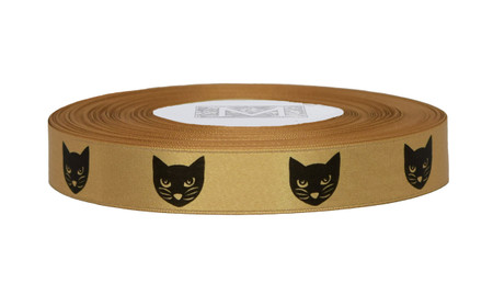 Black ink Meow Meow on Blond Ribbon - Double Faced Satin Symbols