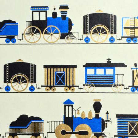 Trains - Cream/Black/Blue and Metallic Gold