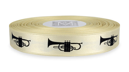 Black ink Instruments on Bone Ribbon - Double Faced Satin Symbols