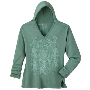 Women's Slim Hooded Tunic Love Sea Green