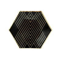 Noir Black Hexagon Small Plates